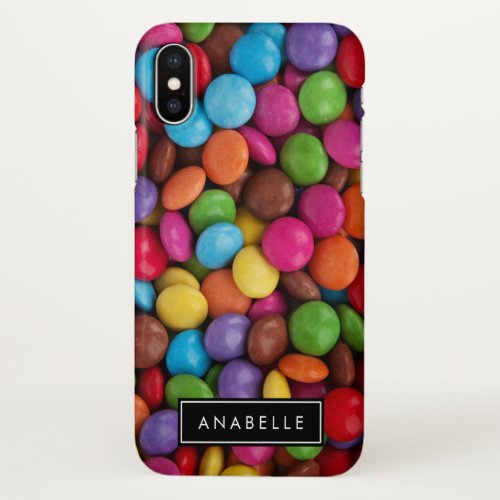 Your Name _ Button_Shaped Candy _ Purple Pink iPhone X Case