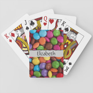 Your Name - Button-Shaped Candy - Purple Pink Playing Cards