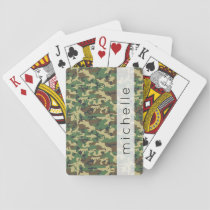 Your Name - Camouflage Pattern - Brown Yellow Playing Cards