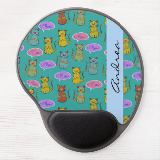 Your Name - Cats, Cat Pattern, Meow - Yellow Green Gel Mouse Pad