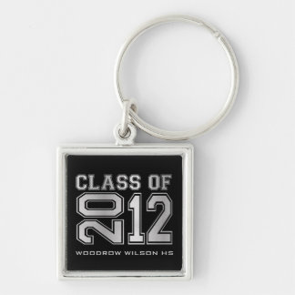 """""""your name"""" Class of 2012 Key-Chain (silver) Silver-Colored Square Keychain"""