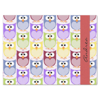 "Your Name - Colorful Owls - Green Blue Purple 17"" X 23"" Tissue Paper"