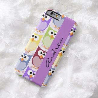 Your Name - Colorful Owls - Green Blue Purple Barely There iPhone 6 Case