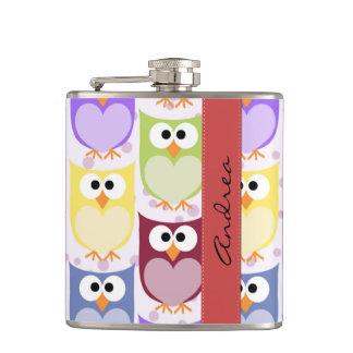 Your Name - Colorful Owls - Green Blue Purple Flask
