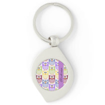 Your Name - Colorful Owls - Green Blue Purple Keychain