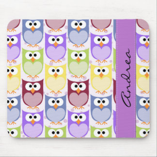 Your Name - Colorful Owls - Green Blue Purple Mouse Pad