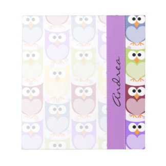 Your Name - Colorful Owls - Green Blue Purple Notepad