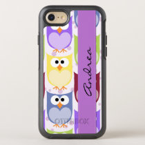 Your Name - Colorful Owls - Green Blue Purple OtterBox Symmetry iPhone 8/7 Case