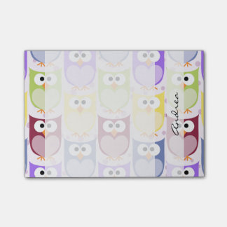 Your Name - Colorful Owls - Green Blue Purple Post-it® Notes