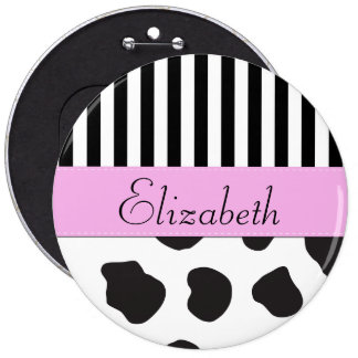 Your Name - Cow Print, Stripes - Black White Pink Pinback Button