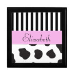 Your Name - Cow Print, Stripes - Black White Pink Trinket Boxes