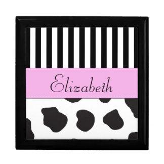 Your Name - Cow Print, Stripes - Black White Pink Gift Box