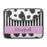 Your Name - Cow Print, Stripes - Black White Pink MacBook Pro Sleeve