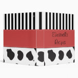 Your Name - Cow Print, Stripes - Black White Red Vinyl Binders