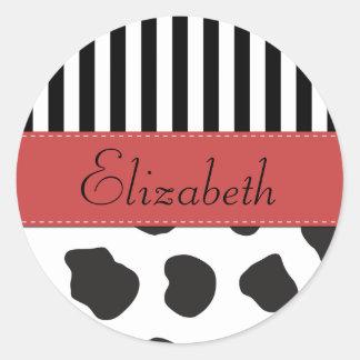 Your Name - Cow Print, Stripes - Black White Red Sticker