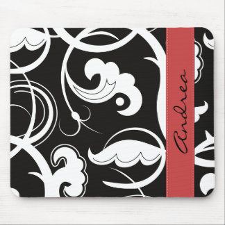 Your Name - Curly Swirls - Black White Red Mouse Pad