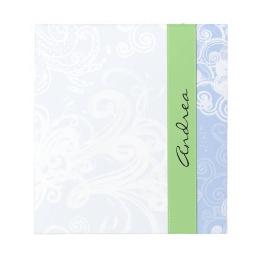 Your Name - Curly Swirls - Blue Green White Memo Notepads