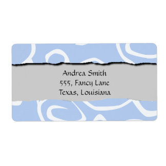 Your Name - Curly Swirls (Curved Swirls) - Blue Personalized Shipping Labels