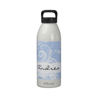 Your Name - Curly Swirls (Curved Swirls) - Blue Drinking Bottles