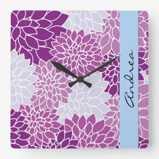 Your Name - Dahlia Flowers, Blossoms - Blue Purple Square Wall Clock