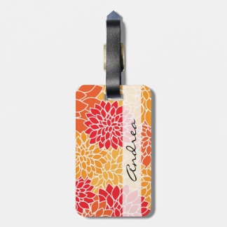 Your Name - Dahlia Flowers, Blossoms - Orange Red Luggage Tag