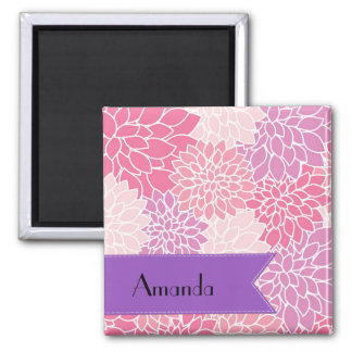 Your Name - Dahlia Flowers, Blossoms - Pink Purple 2 Inch Square Magnet