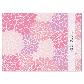 Your Name - Dahlia Flowers, Blossoms - Pink Purple Tissue Paper