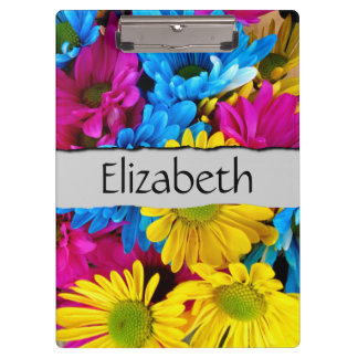 Your Name - Daisy Flowers, Blossoms - Blue Yellow Clipboard