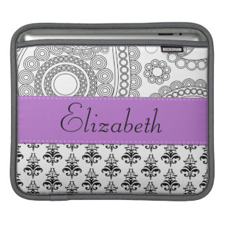 Your Name - Damask, Circles - Black White Purple Sleeve For iPads