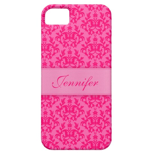 """""""Your name"""" damask hot pink iphone5 case"""
