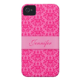 """""""Your name"""" damask hot pink iphone 4S barely case Iphone 4 Case"""