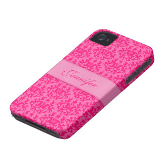 Your name damask hot pink iphone 4S barely case iPhone 4 Case