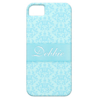 """""""Your name"""" damask light blue iphone 5 case"""