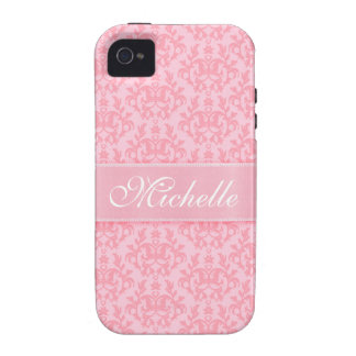 """""""Your name"""" damask light pink iphone4S barely case Vibe iPhone 4 Cases"""