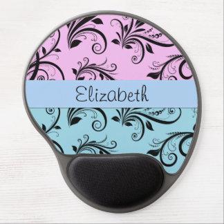 Your Name - Damask, Ornaments - Blue Black Pink Gel Mouse Pad