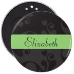 Your Name - Damask, Ornaments - Gray Black Green Pinback Buttons