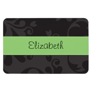 Your Name - Damask, Ornaments - Gray Black Green Rectangular Magnet