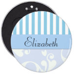 Your Name - Damask, Ornaments, Stripes - Blue Pinback Buttons