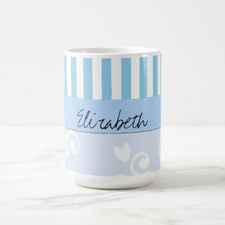 Your Name - Damask Ornaments Stripes - Blue Coffee Mugs