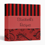 Your Name - Damask, Ornaments, Stripes - Red Black Binders