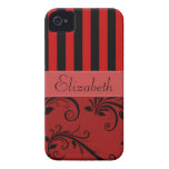 Your Name - Damask, Ornaments, Stripes - Red Black Case-Mate iPhone 4 Cases