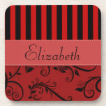 Your Name - Damask, Ornaments, Stripes - Red Black Coaster