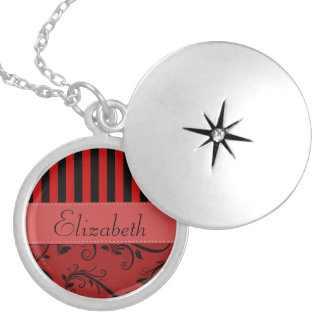 Your Name - Damask, Ornaments, Stripes - Red Black Round Locket Necklace