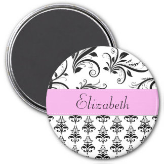 Your Name - Damask, Ornaments, Swirls - Black 3 Inch Round Magnet