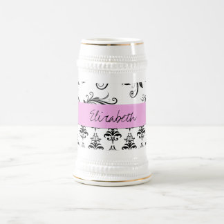 Your Name - Damask, Ornaments, Swirls - Black Beer Stein