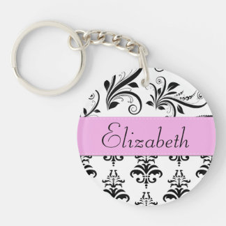 Your Name - Damask, Ornaments, Swirls - Black Keychain