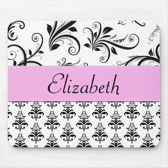 Your Name - Damask, Ornaments, Swirls - Black Mouse Pad