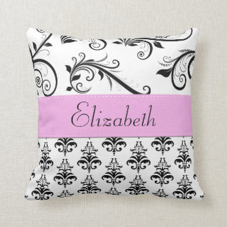 Your Name - Damask, Ornaments, Swirls - Black Throw Pillow