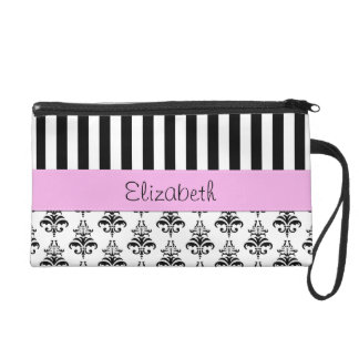 Your Name - Damask, Ornaments, Swirls - Black Wristlet