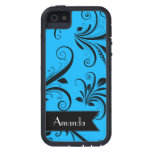 Your Name - Damask, Ornaments, Swirls - Blue Black iPhone 5/5S Case